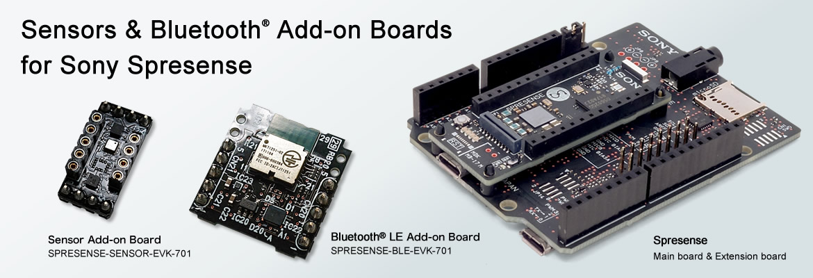 Sensors &amp; Bluetooth<sup>&reg;</sup>Add On Boards for Sony Spresense