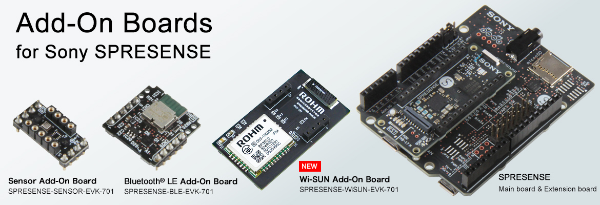 Sensors & Bluetooth<sup>®</sup>Add On Boards for Sony Spresense