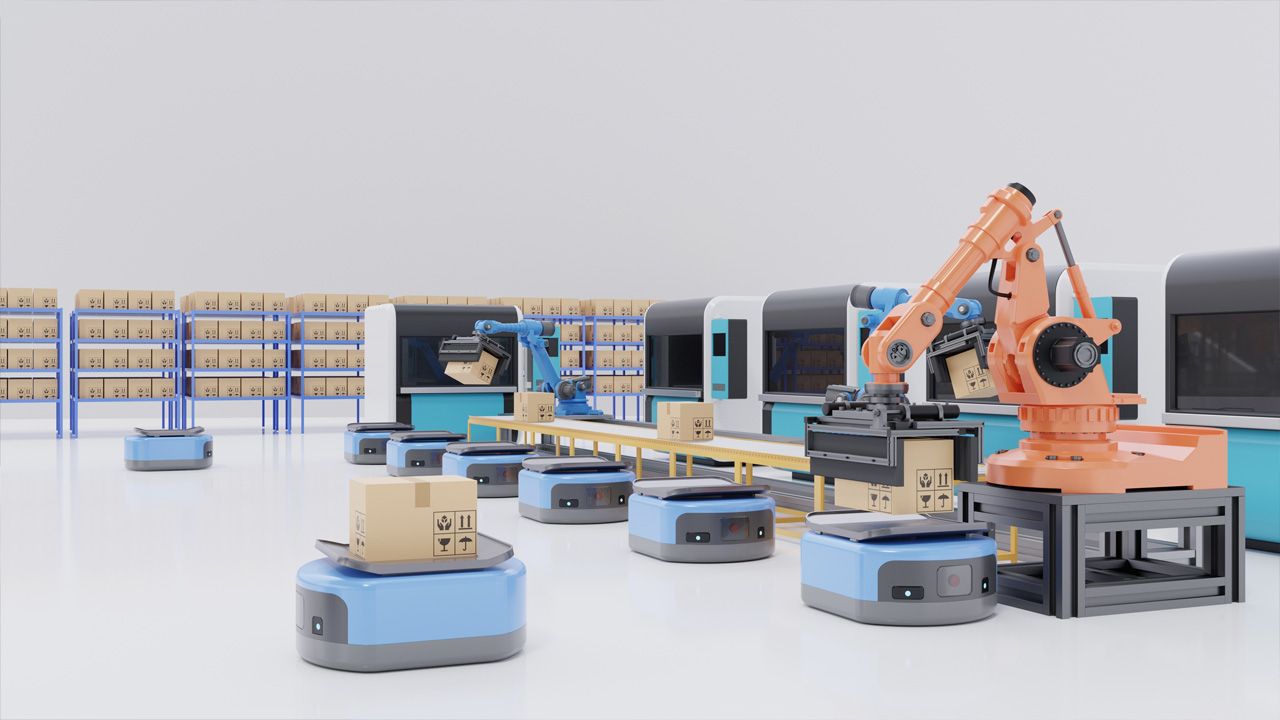 Robots Move Autonomously Through a Factory and Perform Various Tasks