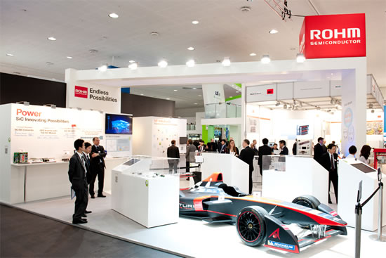 Fig. 1 The ROHM Booth at Hannover Messe ROHM exhibited for the first time at Hannover Messe in 2016, displaying a Formula E racer scheduled to mount its SiC Schottky barrier diodes.