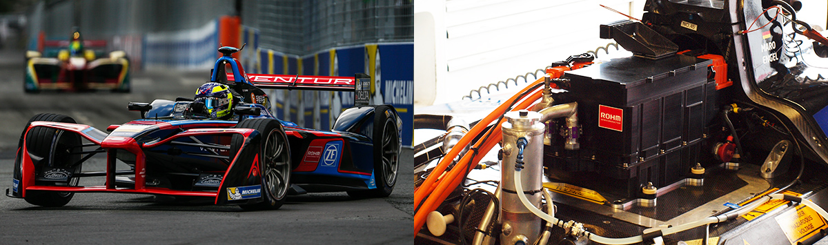 Fig. 3  Venturi Formula E-Car which is sponsored by ROHM  and its inverter which is equipped with SiC power devices