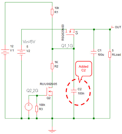 Nch MOSFET Load Switch Equivalent Circuit Diagra