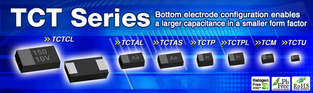 TCT Series Bottom electrode configuration enables a larger capacitance in a smaller form factor