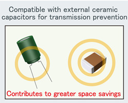 Ceramic capacitor compatibility reduces mounting area and costs