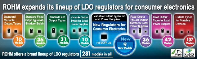 ROHM expands its lineup of LDO regulators for consumer electronics
