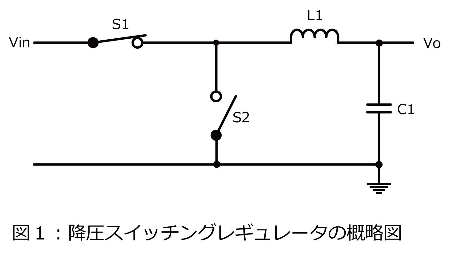 降圧スイッチングレギュレータの概略図