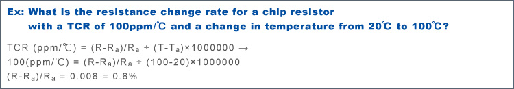 Ex: What is the resistance change rate for a chip resistor with a TCR of 100ppm/℃ and a change in temperature from 20℃ to 100℃?