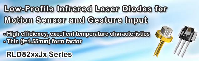 Low-Profile Infrared Laser Diodes for Motion Sensor and Gesture Input