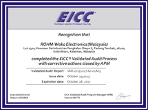 Certicate issued upon completion of the EICC audit