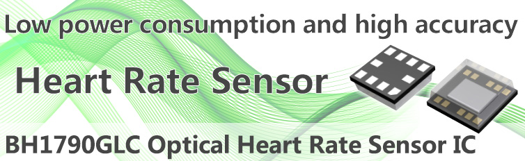 Product announcement for the BH1790GLC optical heart rate sensor IC