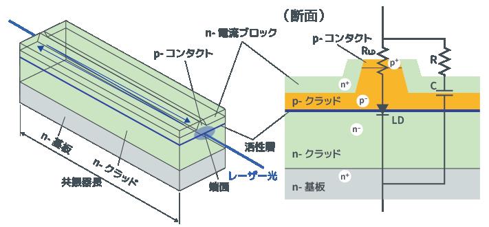 レーザーダイオードのチップ構造